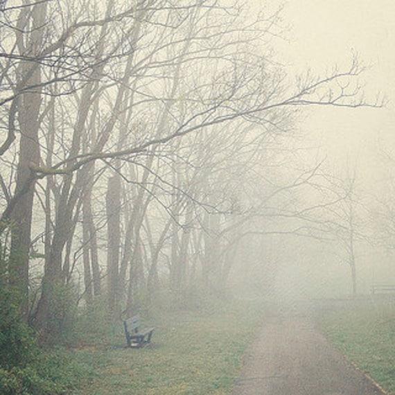 "Fog Photograph - Dreamy Mysterious Spooky Woods - Forest Path Park Bench Foggy Landscape - Rustic Home Decor - Fine Art Photograph - ""FOG"""