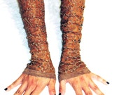 "Brown Leather Gloves with Floral cutouts - also known as  ""Kittys"""