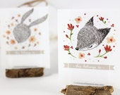 12 Bookplates - Fox, Rabbit and Hedgehog in Spring