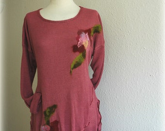 LINEN Knitted Powder Pink Tunic Sweater With Flower Appliques Eco Friendly Clothing Natural  L Xl Size