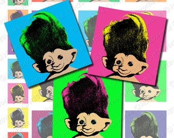 Pop Art Troll Dolls 1x1 & 2x2 Squares, Retro (Set of 24) 70's, Neon, PopArt, Bright, Trolls, Vintage, Printable, INSTANT DOWNLOAD
