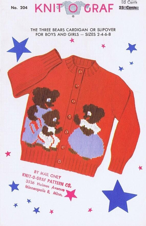 Knit-O-Graf Children's 3 Bears Cardigan Knitting Pattern