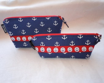 Nautical Anchors Cosmetic Bag Set