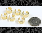6 Raw Hammered Brass Ear Cuffs with Hole, Earring Cuff, Set of Six B:OD6