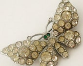 French paste butterfly silver tone brooch. - Lyonesse4gems