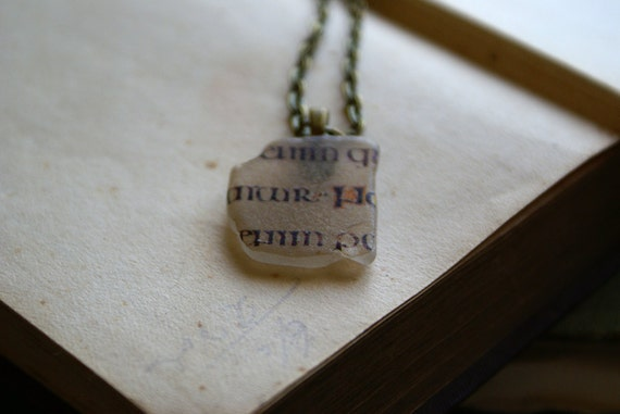 Beach Glass Pendant with Uncial Calligraphy from the Book of Kells -- Handmade in Ireland
