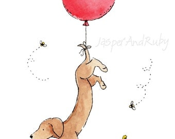 Dachshund Art Print, Children's Wall Art, Puppy Nursery Print, Dog Nursery Art, Red Balloon Print, Children's Art, Nursery Decor, New Baby