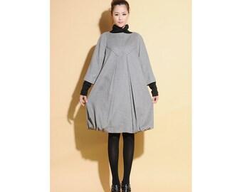 Clara s Slipper Pleated Flower Bud Pure Wool Dress  /Grey/ Camel/ Black/ Wool Long Jacket/ 14 Colors/ RAMIES