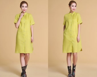 Loose-Fitting Accordion Fold Shirt Dress/ 26 Colors/ Any Size/ RAMIES