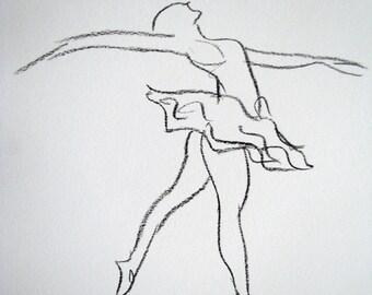 Charcoal drawing - ballet dancer - original - europeanstreetteam