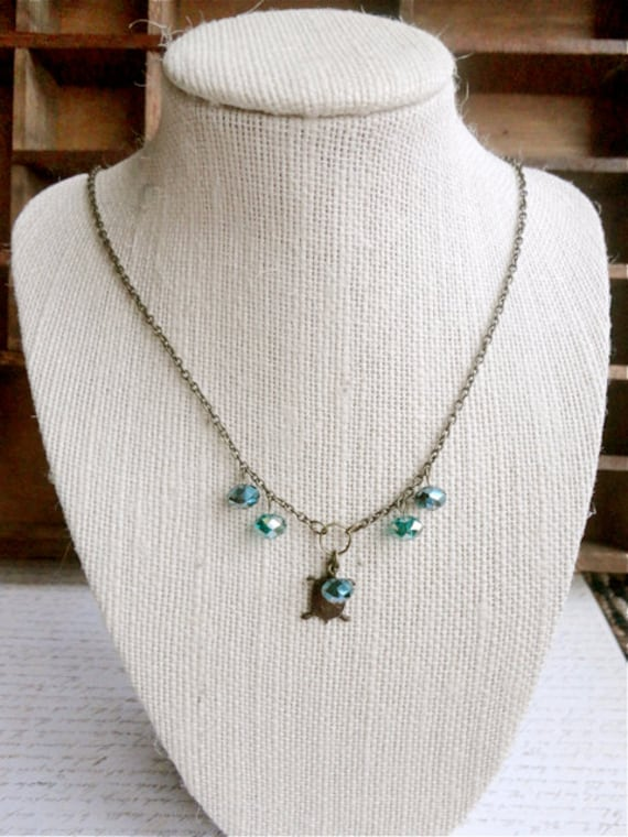 Little turtle and teal tones crystal deep sea creature necklace, Pond Dweller