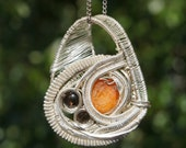 SALE - Wire Wrapped Jewelry - Smokey Quartz, Orange Crystal Gemstone Pendant Necklace Sterling Silver //FREE SHIPPING//