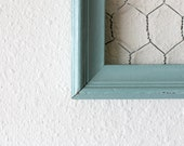 Vintage repurposed seamist blue distressed display frame