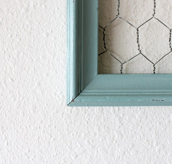 Vintage repurposed seamist blue distressed display frame