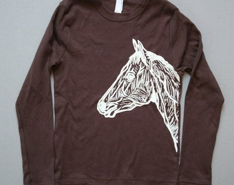 Horse on Brown American Apparel Long Sleeve