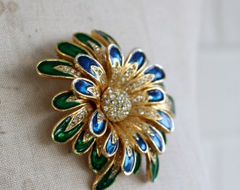 Vintage 1960s - 1980s Large Flower Brooch
