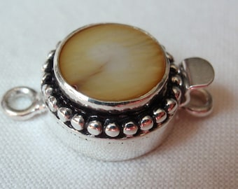 Sterling Silver Box Clasp Round Golden Dyed Bead Trim Mother of Pearl Single Strand