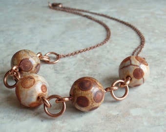 Jasper Beaded Necklace Copper Rusty Orbicular Artisan Hand Made