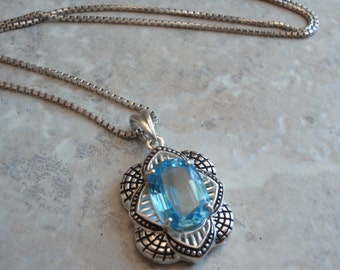 Sterling Silver Necklace Swiss Blue Topaz Vintage Estate Upcycled