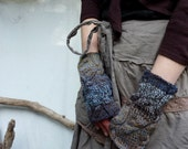 Storm Warmers, hand knitted fingerless cable gloves, brown and blue wool-mix yarn, RESERVED