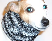 Dog Snood Black Grey White Knitted