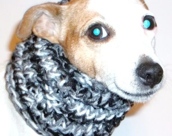 Dog Snood Black Grey White Knitted