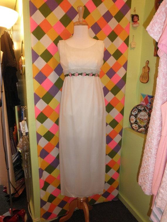 60s white chiffon wedding gown dress 1960s velvet floral applique column maxi prom Dress size 2 4 XS S