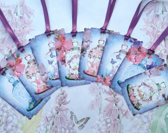 Bell Glass Jar Tea Party Gift Tags set of 8 No.431