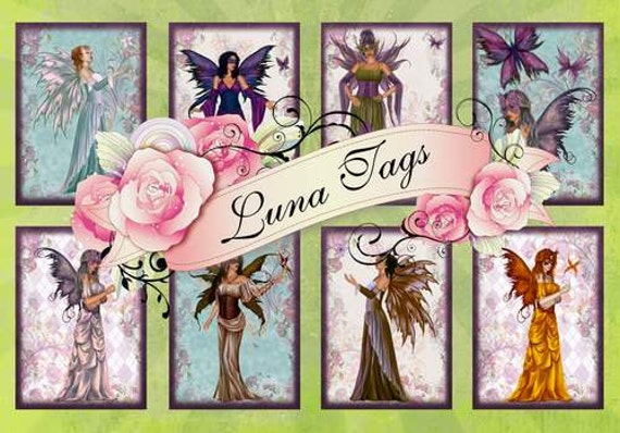 INSTANT DOWNLOAD Mystic Fairies No:171  Personal Use Only Download Clip Art Scarpbooking Personal Use Only Gift Tags