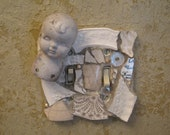 Mosaic Double Switch Plate Switchplate in Cream and White with Bisque Doll Head Mosaic Art