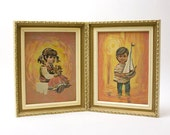Painting - Boy, Girl, Paint by Numbers, Vintage
