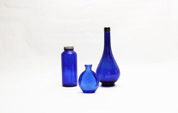 3 Cobalt Blue Bottles - Vintage