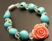 Dia De Los Muertos - Day of the Dead Orange Rose and Turquoise Blue Sugar Skull Bracelet