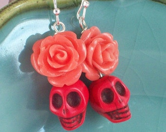 Sugar Skull Earrings Orange rose and Red Skull earrings