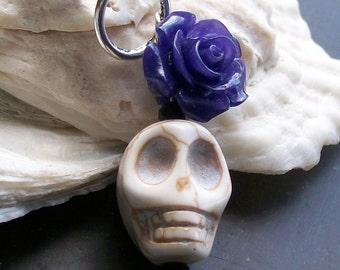 Sugar skull and Flower Pendant