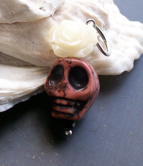 Ivory rose and Chocolate Sugar skull Pendant