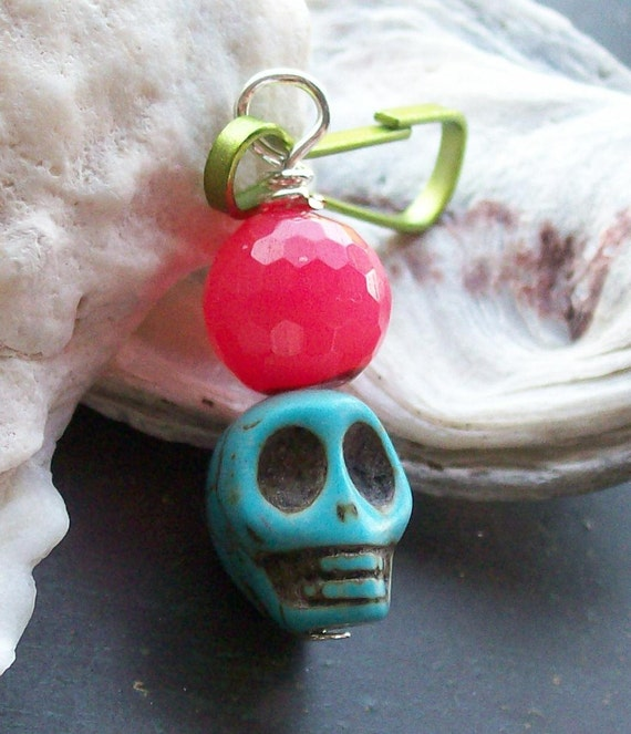 Day of the Dead Agate and Sugar Skull Zipper Charm