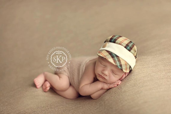 newborn BOY fabric oxford HAT with button - photography prop - tan, brown, ivory, green, red