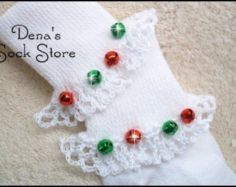 Boutique Crocheted Holiday CHRISTMAS JINGLE BELLS Lace Ruffle Pageant Socks Custom