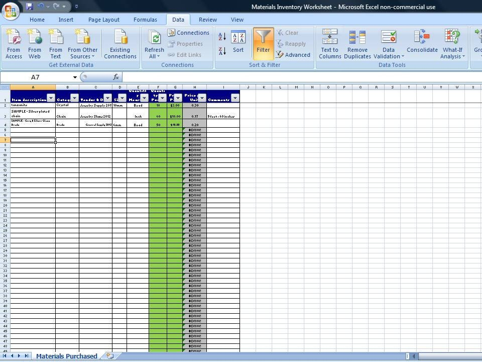 Excel Spreadsheet Materials Inventory Spreadsheet Vendor – Inventory Worksheet