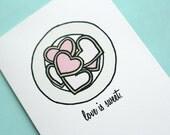 Heart Cookies - Love Is Sweet - Note Card