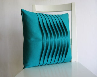Pleated  Turquoise16 X 16 Cotton Cushion Cover