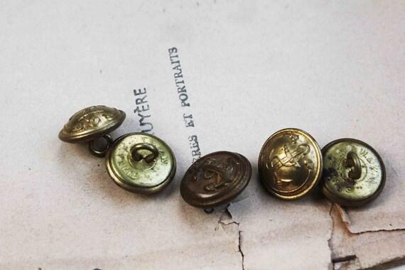 1850s french anchor buttons - 5 golden navy shank buttons antique brass uniform