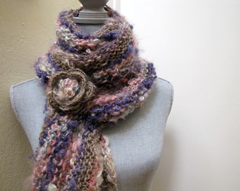 Luxurious Knitted Scarf - Knit Scarf - Long Scarf - Chunky Infinity Scarf - Handspun