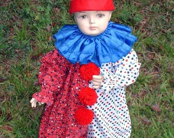 """C126   Patriotic """"All American"""" Clown Halloween Costume Child's size 5 OR 6"""