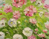 ORIGINAL Oil Painting on canvas impasto Palette Knife Colorful Flowers White Pink Roses Green Bush art gift ready to hang ART by Marchella