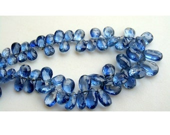 Kyanite Briolettes, Faceted Pear Beads, Kyanite Beads - 9x6mm To 14x7mm - 55 Pieces Approx, 8 Inch Full Strand