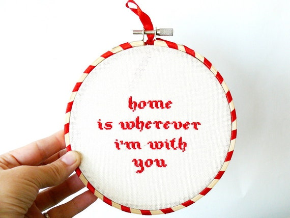 Home is wherever I'm with you - cross-stitch in wooden hoop - n008