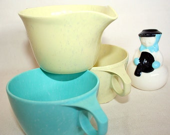 Vintage Imperial Ware Speckled Cups and Pitcher Lemon Chiffon and Aqua