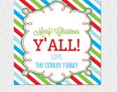 "Personalized Christmas Holiday Gift Tags, ""Merry Christmas Y'All"", Southern, DIY Printable Digital File, Custom"